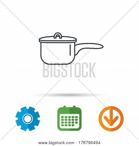 Saucepan icon. Cooking pot or pan sign. Calendar, cogwheel and download arrow signs. Colored flat web icons. Vector