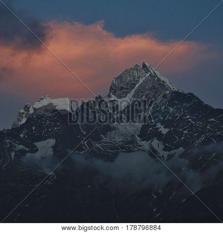 Mount Thamserku at sunset. Spring scene in the Everest National Park.