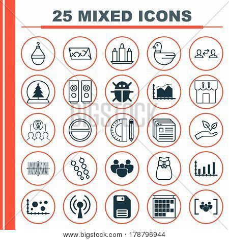 Set Of 25 Universal Editable Icons. Can Be Used For Web, Mobile And App Design. Includes Elements Such As Education Tools, Dynamics, Cosinus Diagram And More.