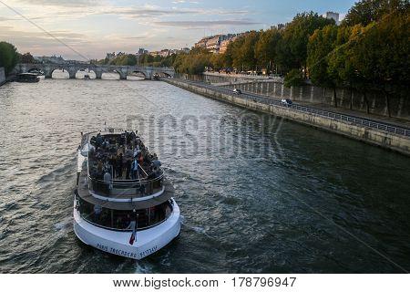 PARIS FRANCE - OCTOBER 11 2014: Typical tourist ship