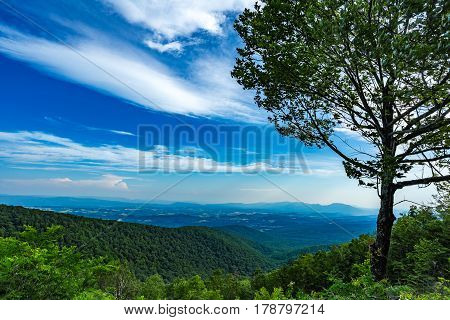 The Blue Ridge Parkway offers mountain scenery while traveling thropught the Appalachians.