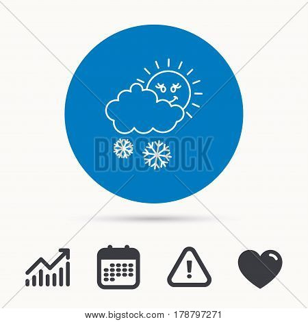 Snow with sun icon. Snowflakes with cloud sign. Snowy overcast symbol. Calendar, attention sign and growth chart. Button with web icon. Vector