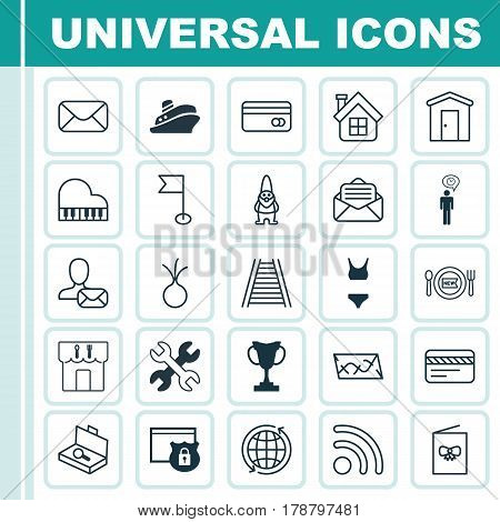 Set Of 25 Universal Editable Icons. Can Be Used For Web, Mobile And App Design. Includes Elements Such As Route, World, Farmhouse And More.