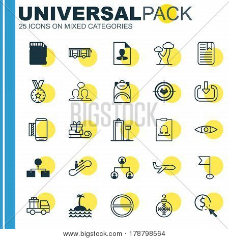 Set Of 25 Universal Editable Icons. Can Be Used For Web, Mobile And App Design. Includes Elements Such As Refuse, Badge, Vehicle And More.