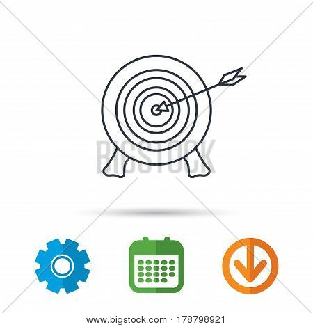 Target with arrow icon. Archery aiming sign. Professional shooter sport symbol. Calendar, cogwheel and download arrow signs. Colored flat web icons. Vector