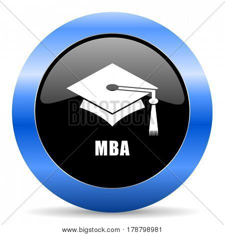 Mba black and blue web design round internet icon with shadow on white background.