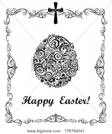 Easter greeting card with decorative floral egg (black and white)