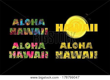 Aloha Hawaii. T-shirt prints with colorful palm leaves