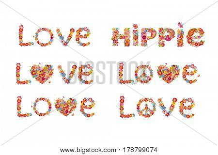 Flowers print with peace flower symbol, love and hippie word