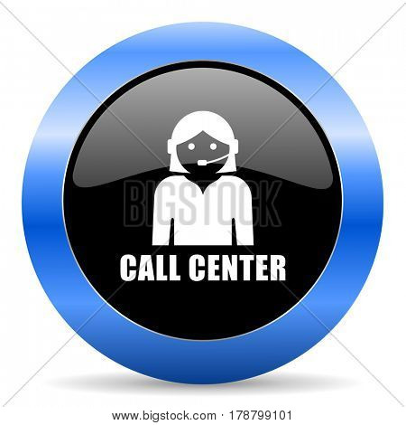 Call center black and blue web design round internet icon with shadow on white background.