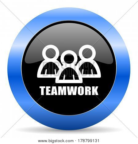 Teamwork black and blue web design round internet icon with shadow on white background.