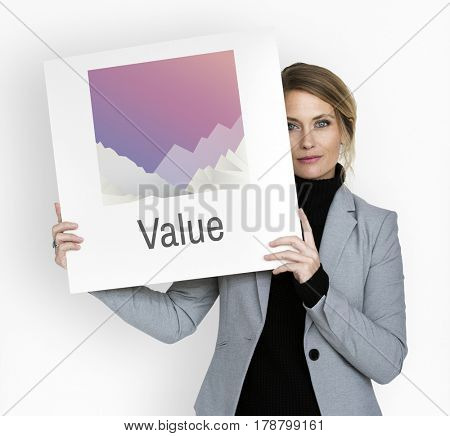Businesswoman Holding Value Placard Concept