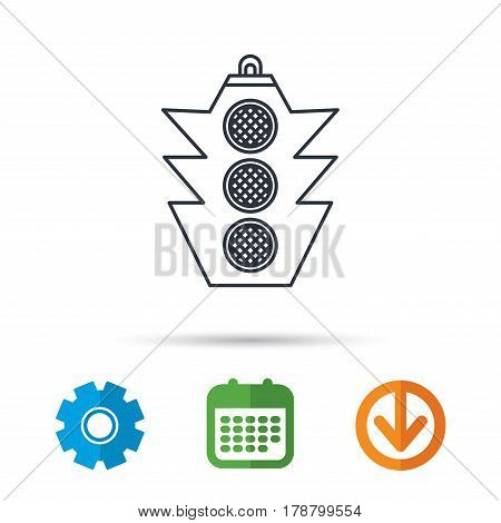 Traffic light icon. Safety direction regulate sign. Calendar, cogwheel and download arrow signs. Colored flat web icons. Vector