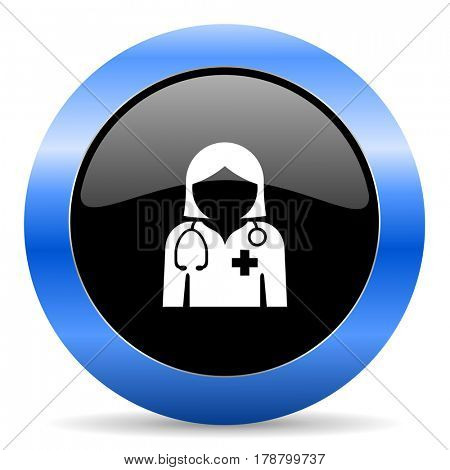 Doctor black and blue web design round internet icon with shadow on white background.