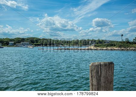 A view of Oak Bluffs Harbor on Martha's Vineyard Massachusetts from Vineyard Sound.