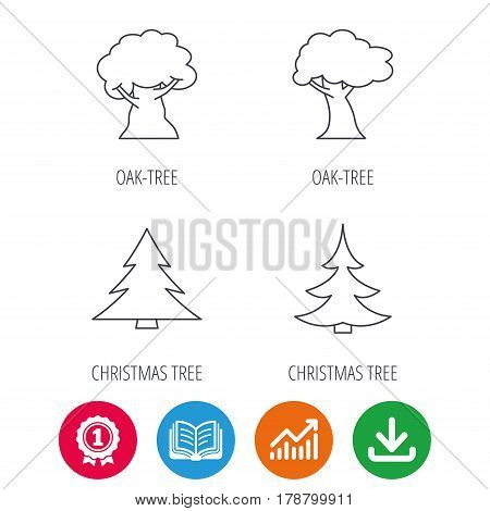 Tree, oak-tree and christmas tree icons. Forest trees linear signs. Award medal, growth chart and opened book web icons. Download arrow. Vector