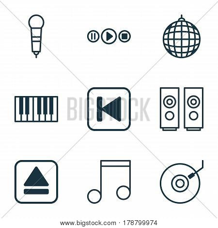 Set Of 9 Multimedia Icons. Includes Extract Device, Song UI, Sound Box And Other Symbols. Beautiful Design Elements.