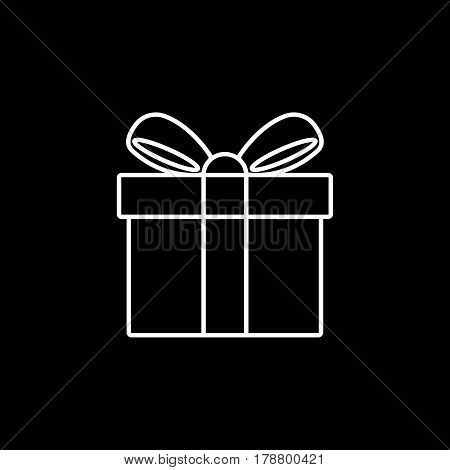 Gift line icon, mother's day, giftbox with ribbon vector graphics, a linear pattern on a black background, eps 10.