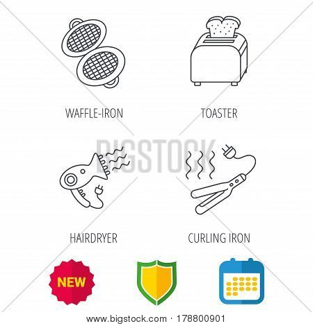 Curling iron, hair-dryer and toaster icons. Waffle-iron linear sign. Shield protection, calendar and new tag web icons. Vector