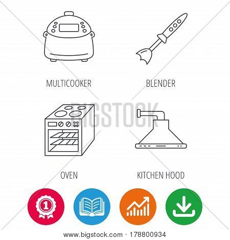 Oven, kitchen hood and blender icons. Multicooker linear sign. Award medal, growth chart and opened book web icons. Download arrow. Vector