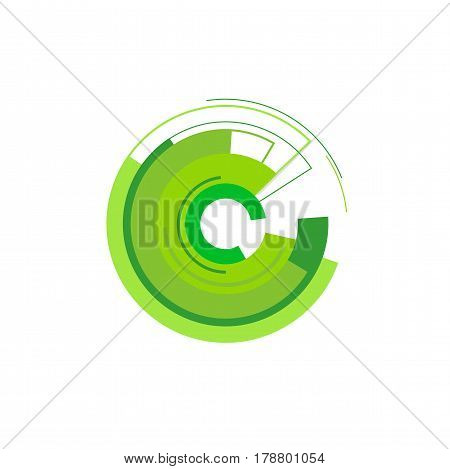 Isolated abstract green circle disintegrates vector illustration. Symbol technologies and the Internet