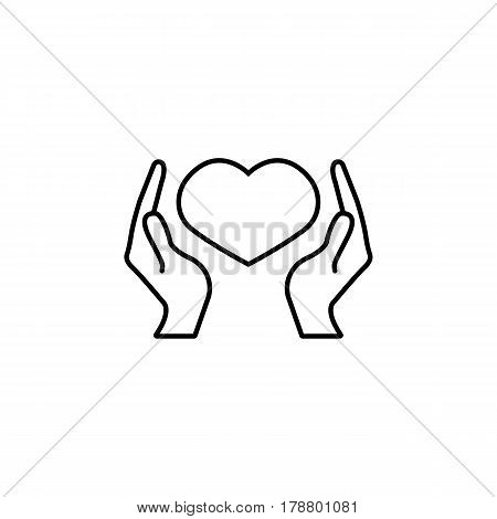 Hearth in hands line icon, mother's day, mom care vector graphics, a linear pattern on a white background, eps 10.