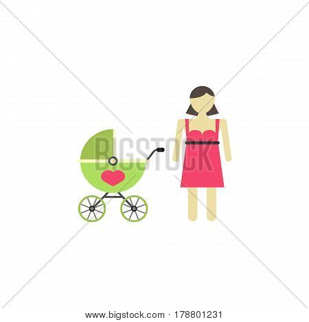 Woman with pram flat icon, mother's day, mom with stroller vector graphics, a colorful solid pattern on a white background, eps 10.