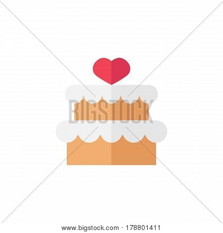 Cake with hearth flat icon, mother's day, sweet vector graphics, a colorful solid pattern on a white background, eps 10.