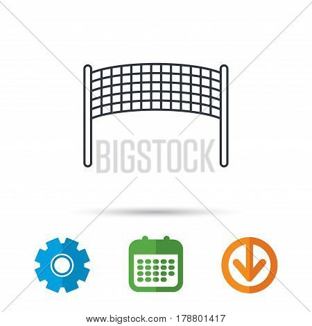 Volleyball net icon. Beach sport game sign. Calendar, cogwheel and download arrow signs. Colored flat web icons. Vector