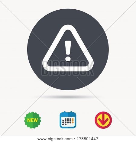 Warning icon. Attention exclamation mark symbol. Calendar, download arrow and new tag signs. Colored flat web icons. Vector