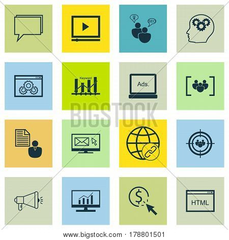 Set Of 16 Marketing Icons. Includes Market Research, Search Optimization, Media Campaign And Other Symbols. Beautiful Design Elements.