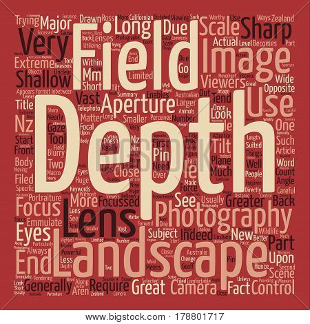 Landscape photography depth of field text background word cloud concept