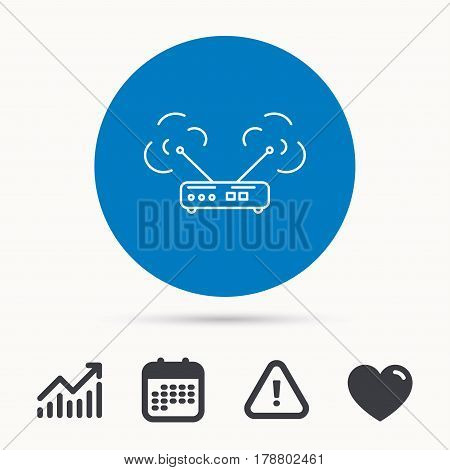 Wi-fi router icon. Wifi wireless internet sign. Device with antenna symbol. Calendar, attention sign and growth chart. Button with web icon. Vector