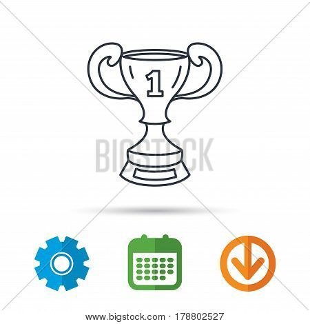Winner cup icon. First place award sign. Victory achievement symbol. Calendar, cogwheel and download arrow signs. Colored flat web icons. Vector