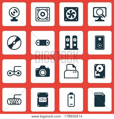 Set Of 16 Computer Hardware Icons. Includes Joystick, Battery, Cd-Rom And Other Symbols. Beautiful Design Elements. poster