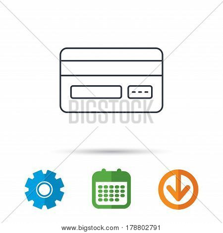 Credit card icon. Shopping sign. Calendar, cogwheel and download arrow signs. Colored flat web icons. Vector