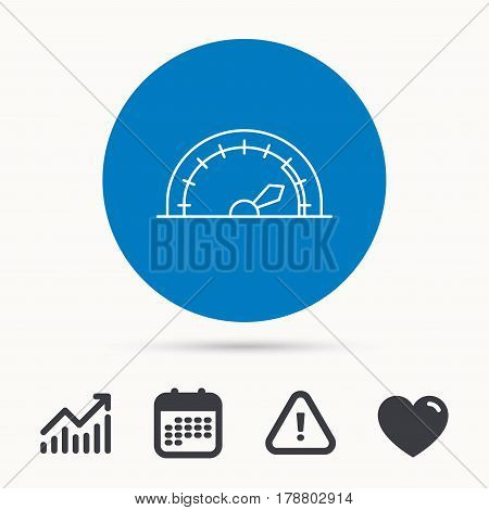 Speedometer icon. Speed tachometer with arrow sign. Calendar, attention sign and growth chart. Button with web icon. Vector