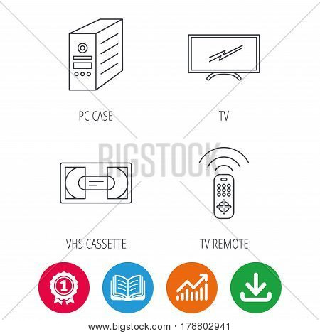 TV remote, VHS cassette and PC case icons. Widescreen TV linear sign. Award medal, growth chart and opened book web icons. Download arrow. Vector