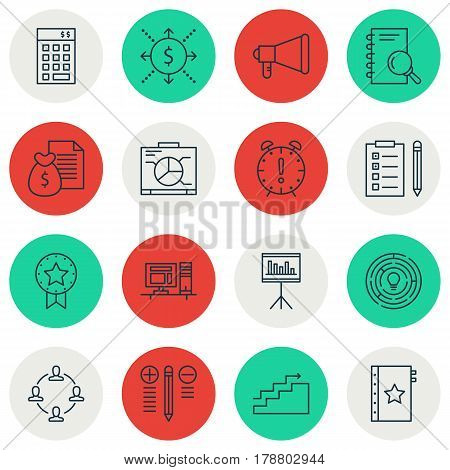 Set Of 16 Project Management Icons. Includes Warranty, Decision Making, Present Badge And Other Symbols. Beautiful Design Elements.