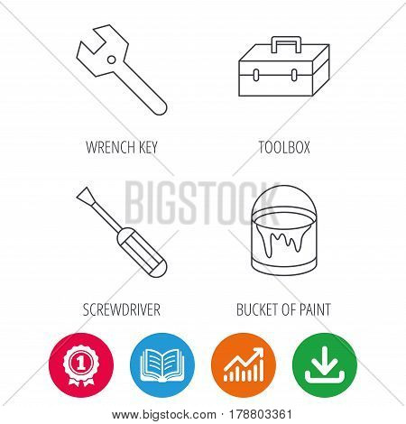 Wrench key, screwdriver and paint bucket icons. Toolbox linear sign. Award medal, growth chart and opened book web icons. Download arrow. Vector