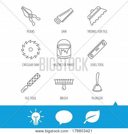 Trowel for tile, saw and brush tool icons. Level and file tool, bucket of paint linear signs. Plunger, pliers icons. Light bulb, speech bubble and leaf web icons. Vector