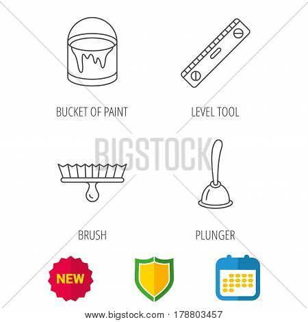 Level tool, plunger and brush tool icons. Bucket of paint linear sign. Shield protection, calendar and new tag web icons. Vector