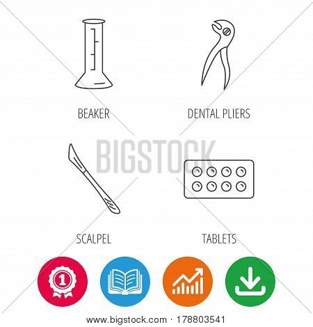 Lab beaker, tablets and dental pliers icons. Scalpel linear sign. Award medal, growth chart and opened book web icons. Download arrow. Vector