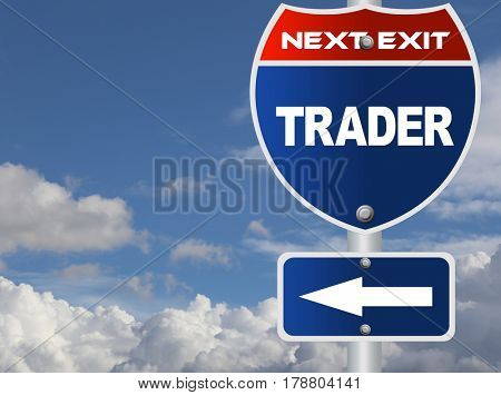 Trader road sign