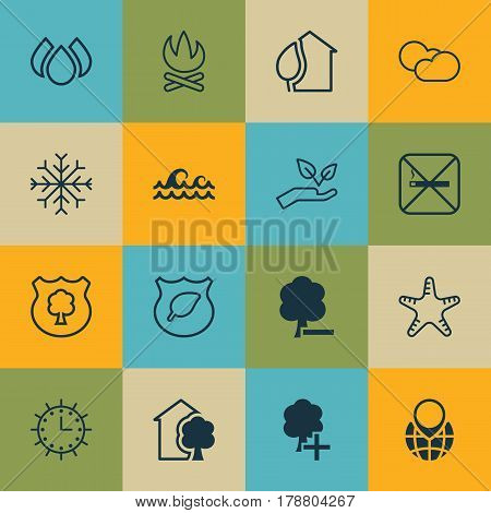 Set Of 16 Eco-Friendly Icons. Includes Insert Woods, Pin Earth, Cigarette And Other Symbols. Beautiful Design Elements.