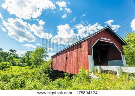 The Carleton Bridge is a historic wooden covered bridge that carries Carleton Road over the South Branch Ashuelot River in East Swanzey New Hampshire.
