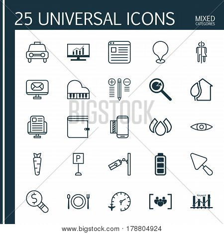 Set Of 25 Universal Editable Icons. Can Be Used For Web, Mobile And App Design. Includes Elements Such As Business Inspection, Wallet, Website Page And More.