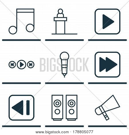 Set Of 9 Music Icons. Includes Microphone, Following Song, Rostrum And Other Symbols. Beautiful Design Elements.
