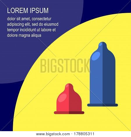 Condom Vector Illustration Poster template with a picture of two multicolored condoms on a yellow background with space for text on purple background Flat design
