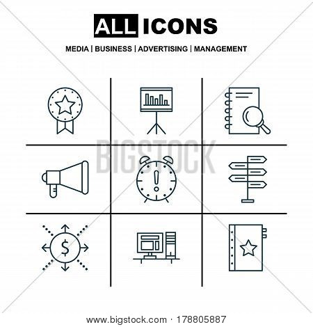 Set Of 9 Project Management Icons. Includes Warranty, Opportunity, Present Badge And Other Symbols. Beautiful Design Elements.
